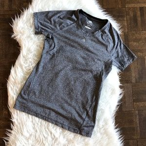 Adidas Small ClimaLite Gray V Neck Tee T Shirt